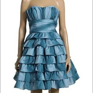 Betsey Johnson strapless blue prom dress